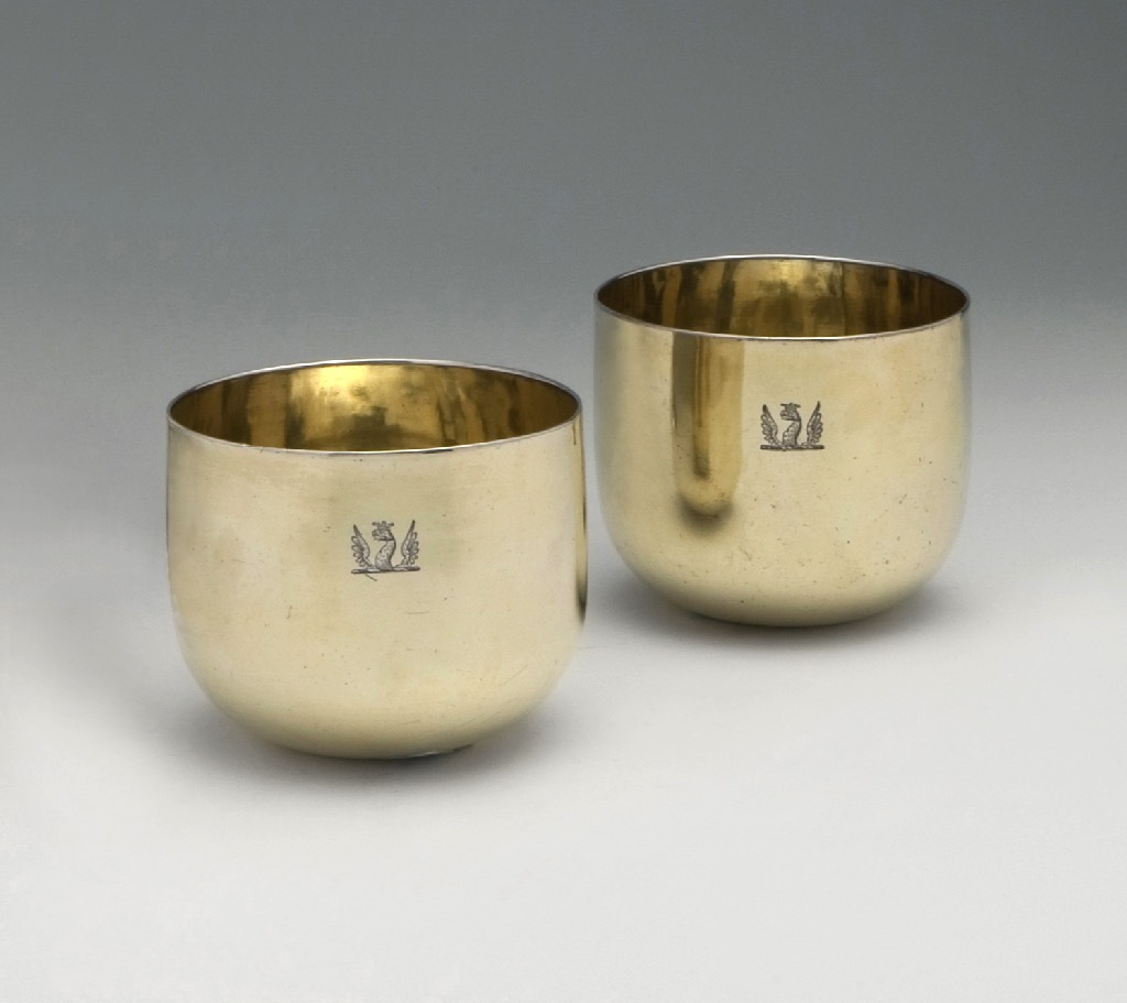 SOLD - A Pair of George III Antique English Silver-Gilt Tumbler Cups