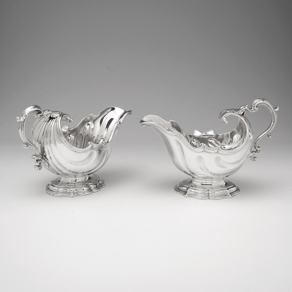 SOLD - A Pair of George II Antique English Silver Sauce Boats