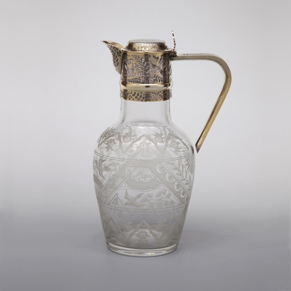 A Victorian Antique English Silver-Gilt Mounted Claret Jug