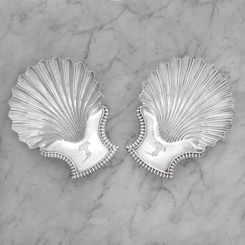 SOLD - A Pair of George III Antique English Silver Butter Shells