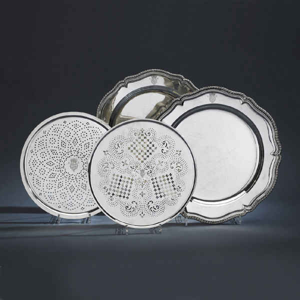 SOLD - A Pair of George III Silver Ambassadorial Serving Dishes and Mazarines