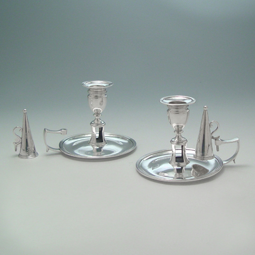 SOLD - A Pair of George III Antique English Silver Chambersticks