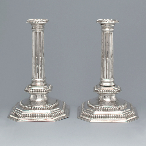 SOLD - A Pair of William & Mary Antique English Silver Candlesticks