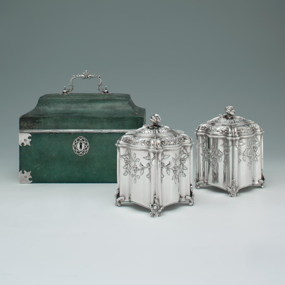 A George III Antique English Silver Tea Caddy and Sugar Box in Shagreen Case