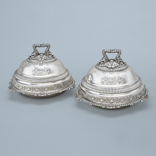 SOLD - A Pair of George IV Antique English Silver Entrée Dishes