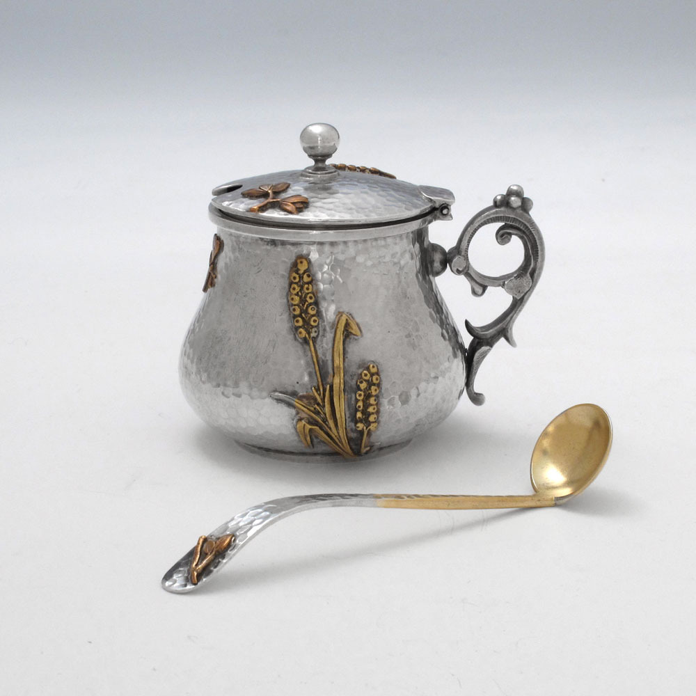An Antique Silver & Mixed-Metal Mustard Pot and Ladle