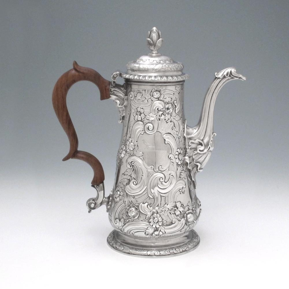 A George II Antique English Silver Coffee Pot