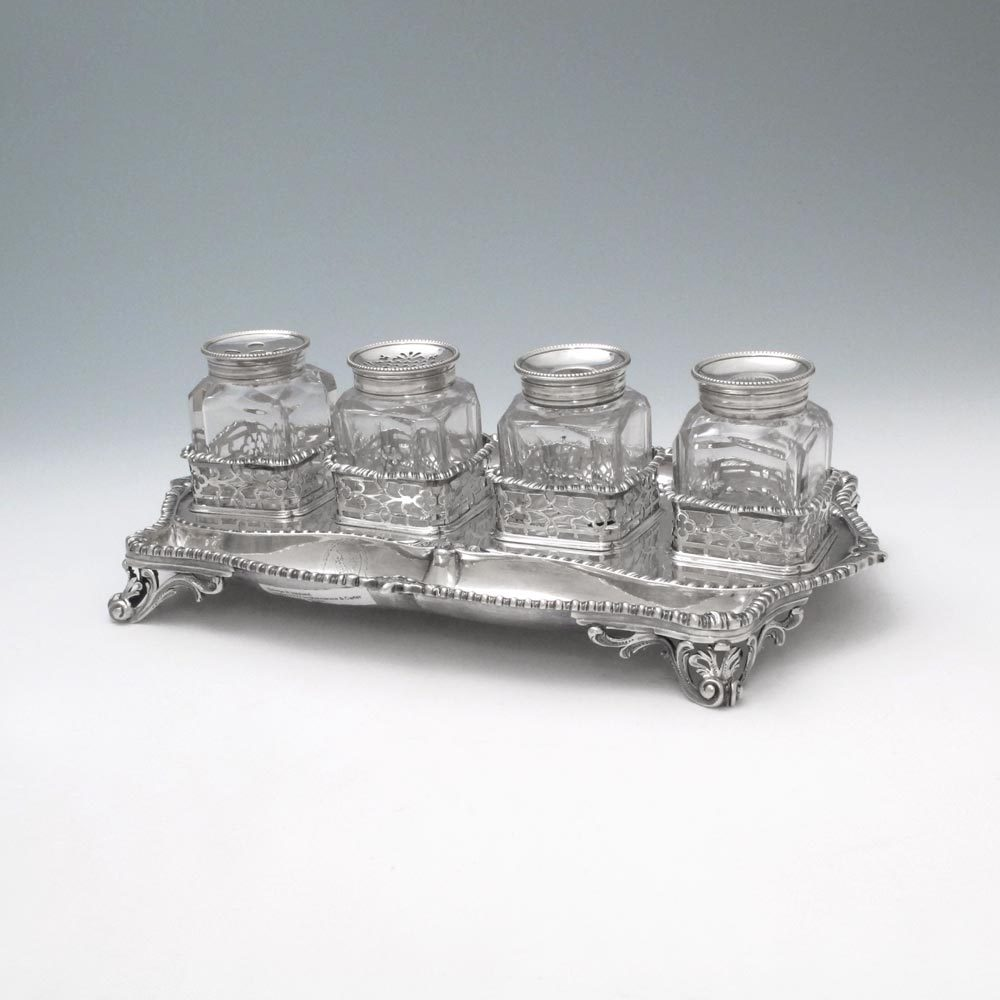 A George III Antique English Silver Inkstand