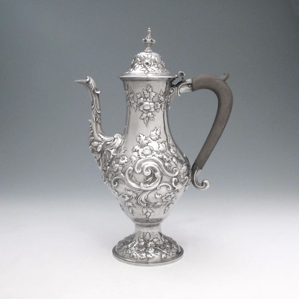 SOLD - A George III Antique English Silver Coffee Pot