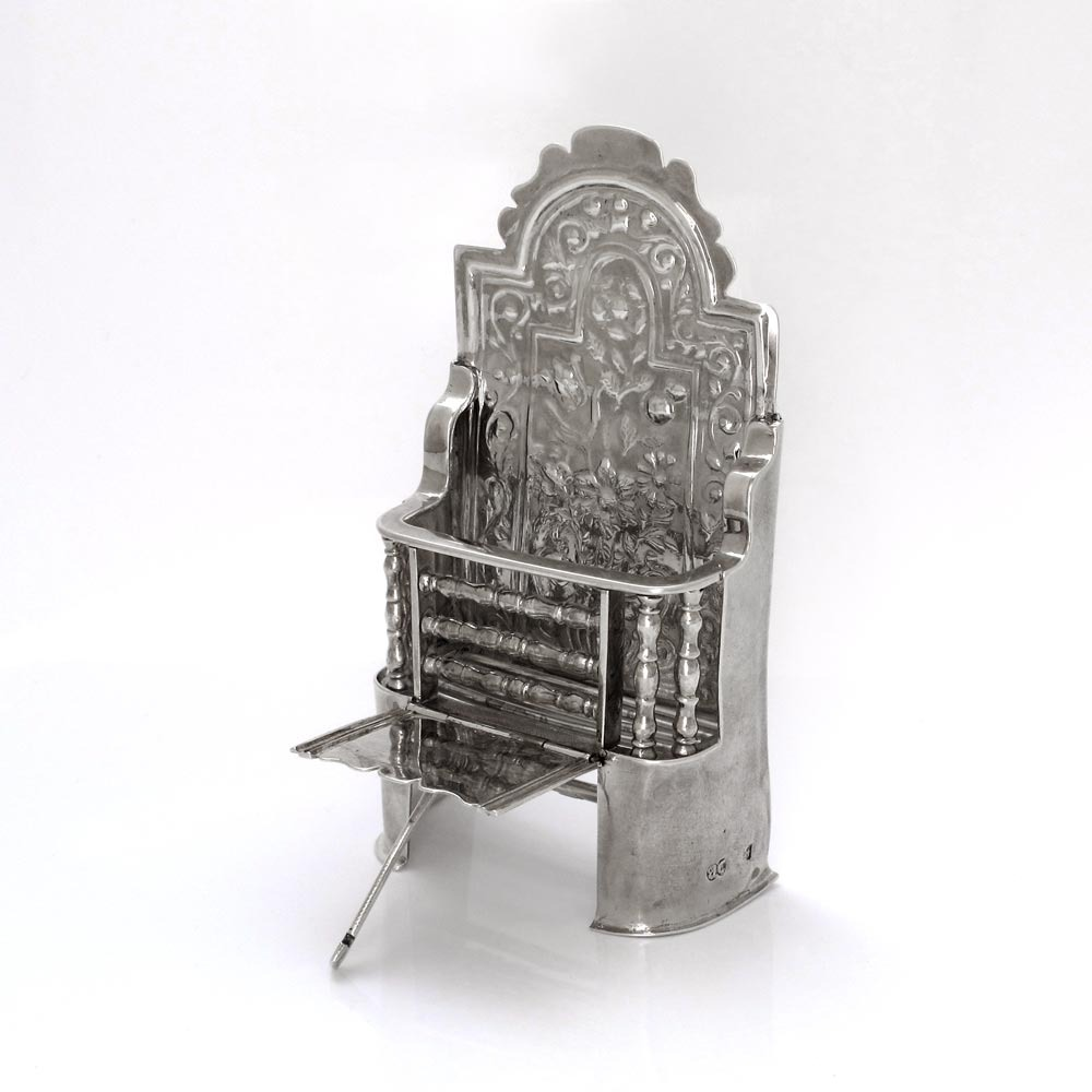 A George I Antique English Silver Miniature Fireplace Grate