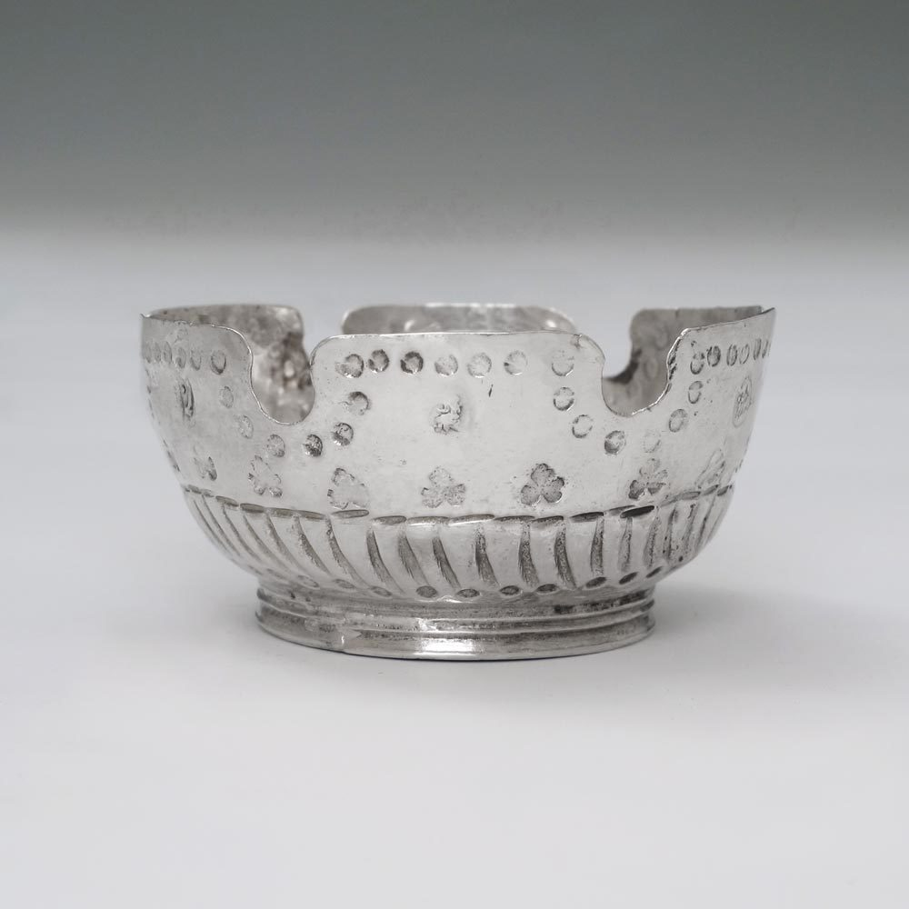 A Queen Anne Antique English Silver Miniature Monteith Bowl