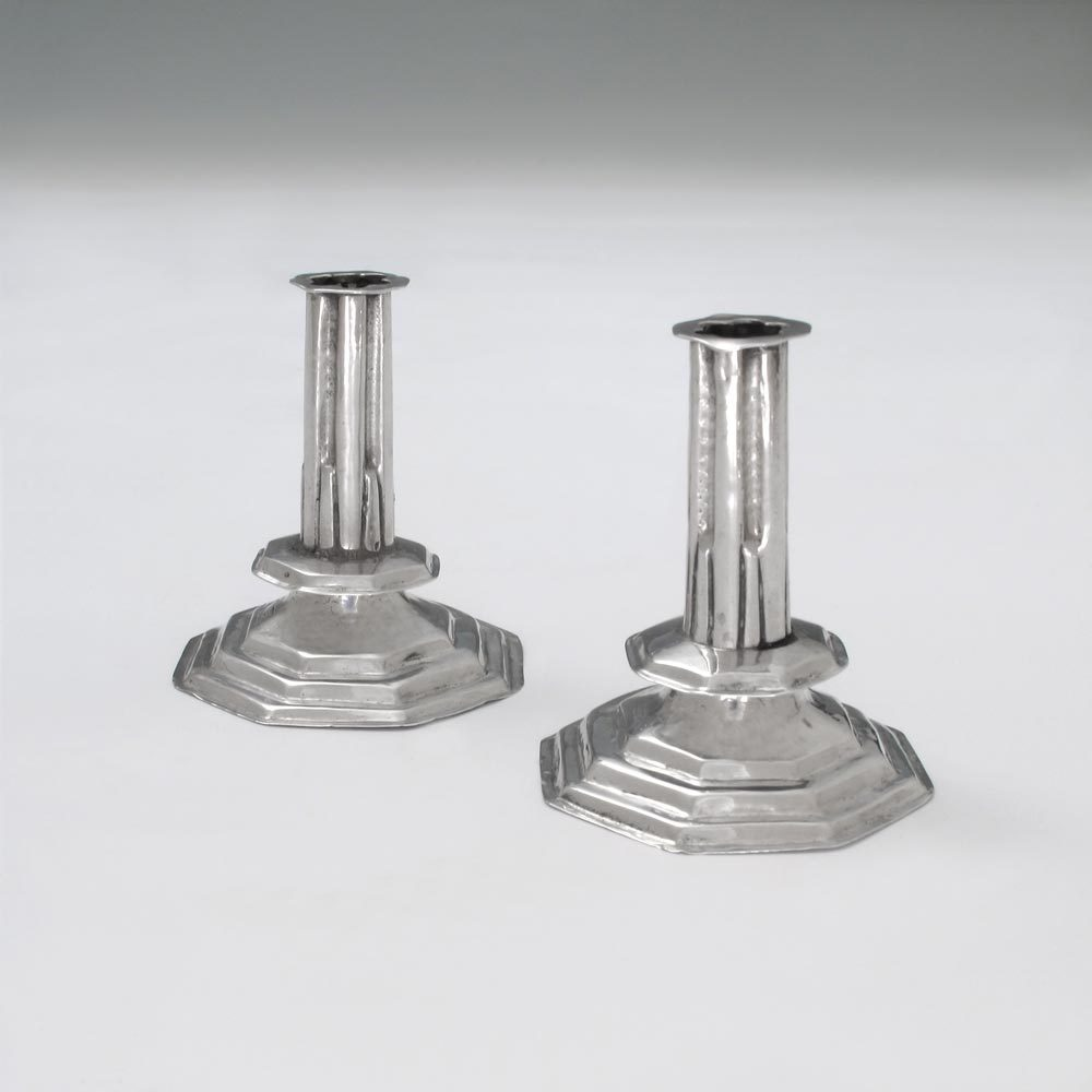 A Pair of Queen Anne Antique English Silver Miniature Candlesticks