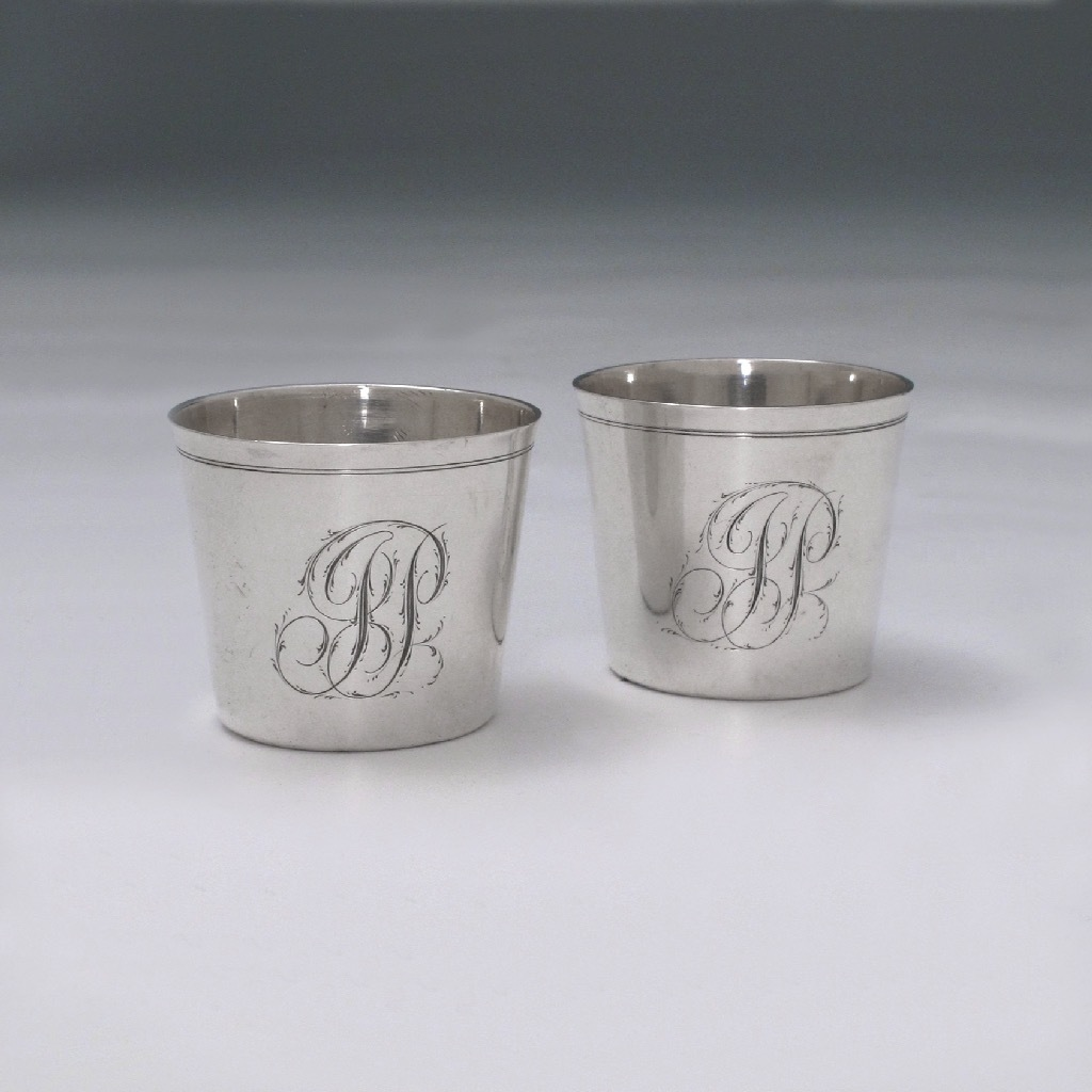 SOLD - A Pair of Early American Silver Camp Cups