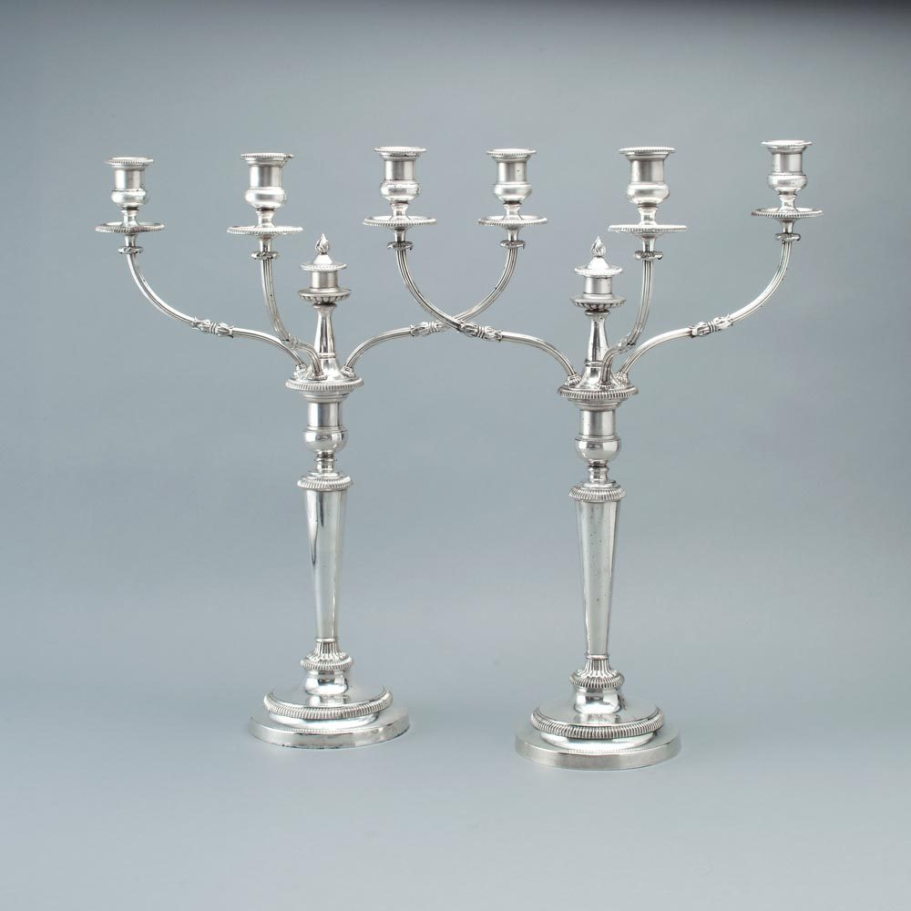 A Pair of George III Old Sheffield Plate Candelabra