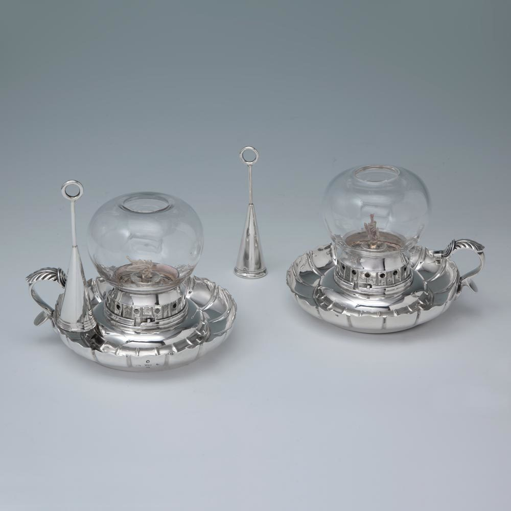 A Matched Pair of Victorian Antique English Silver Hurricane Chambersticks