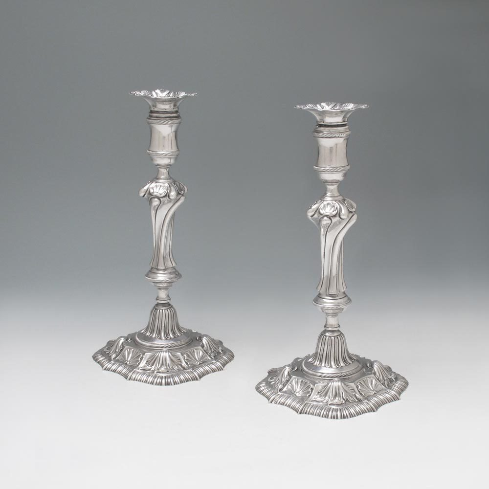 A Pair of George II Antique Irish Silver Candlesticks