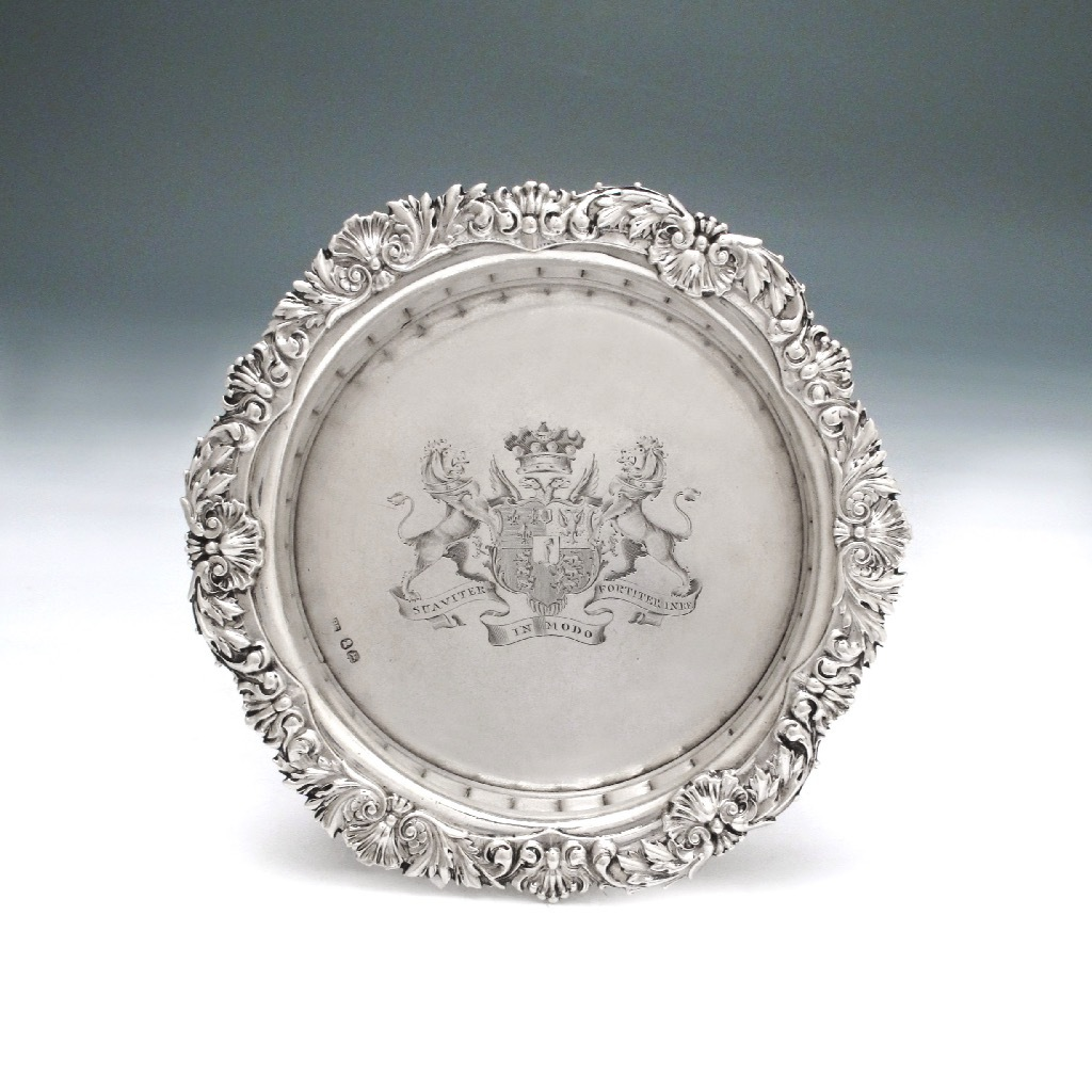 A George IV Antique English Silver Wine Coaster