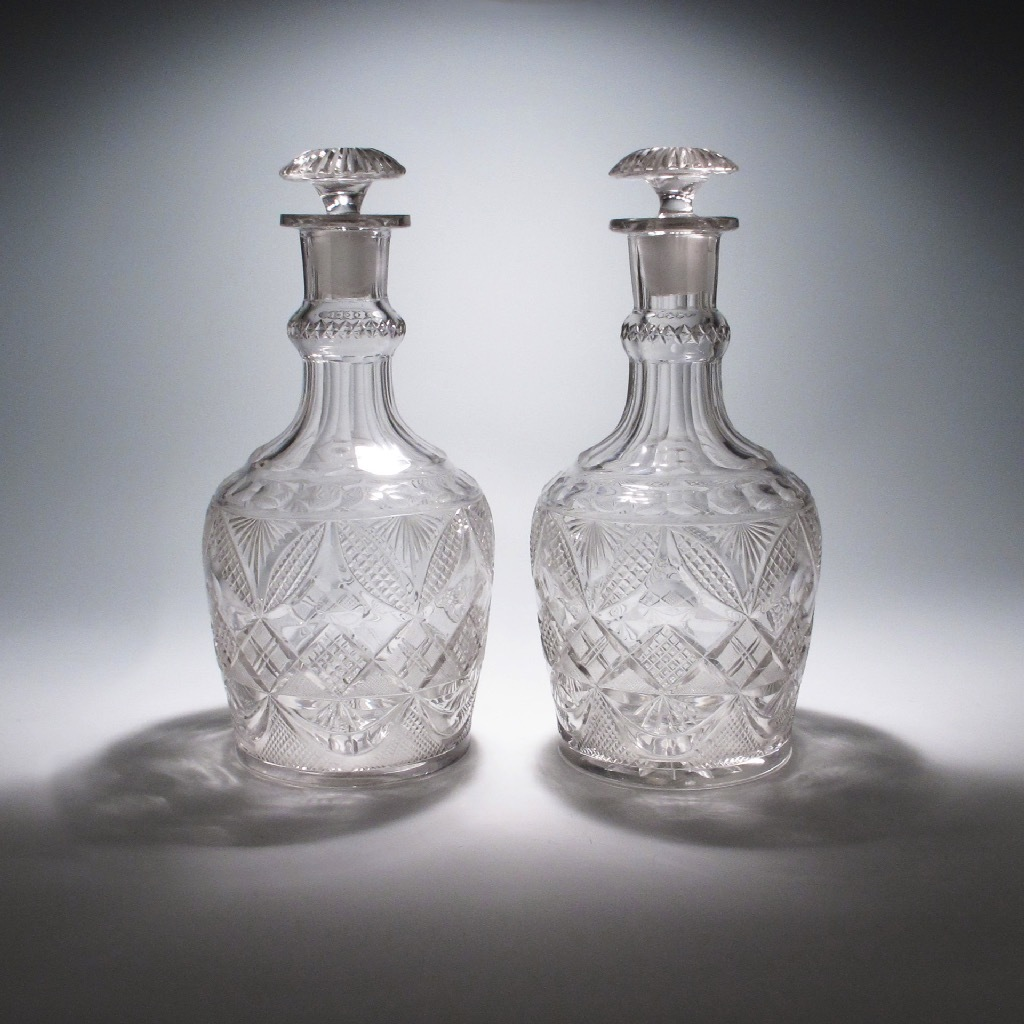 A Large Pair of Magnum Antique English Glass Decanters
