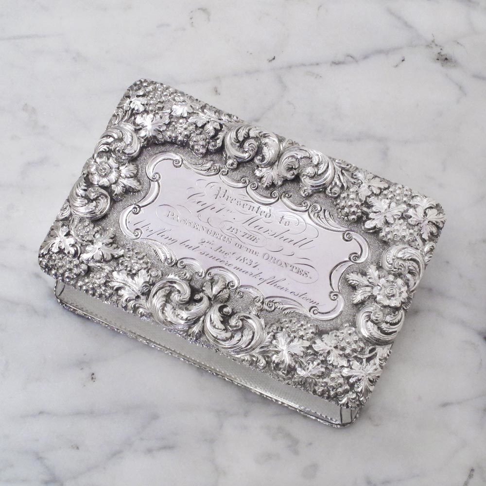 SOLD - A Large William IV Antique English Silver Presentation Snuff Box