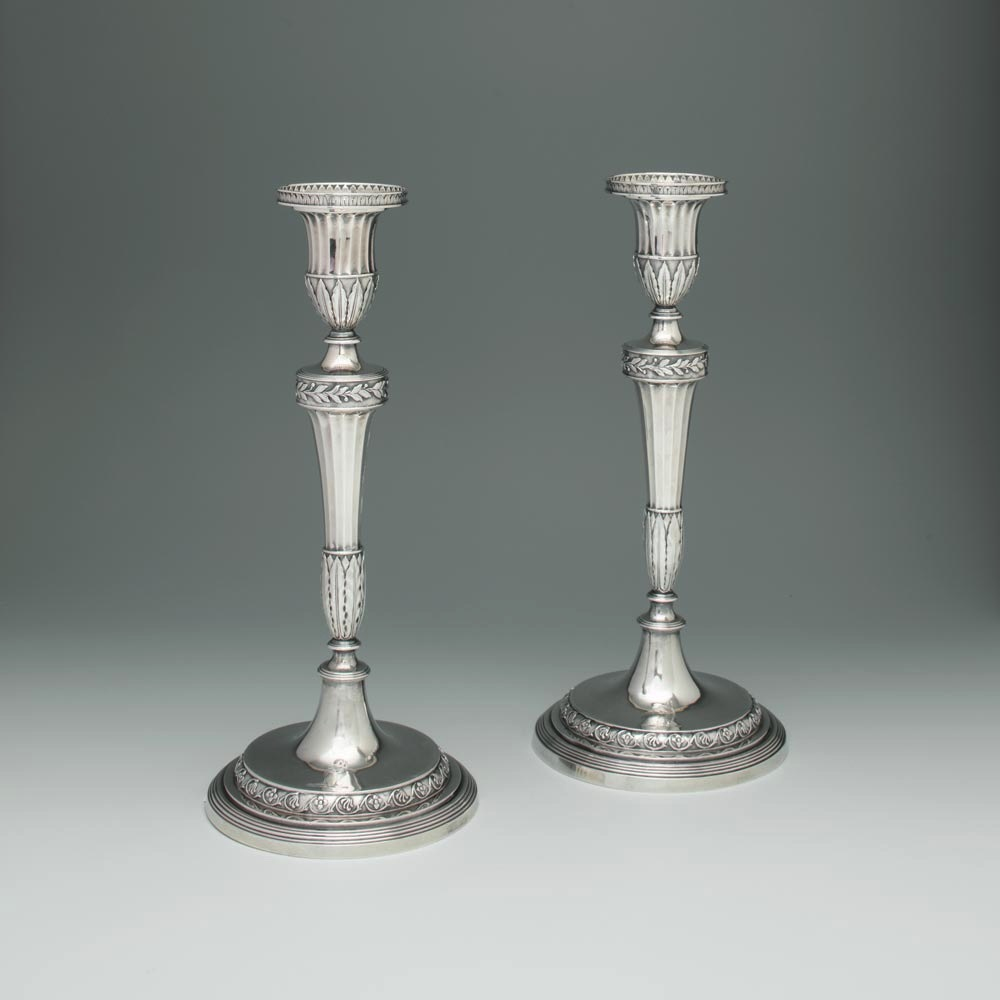 SOLD - A Pair of George III Antique English Silver Candlesticks