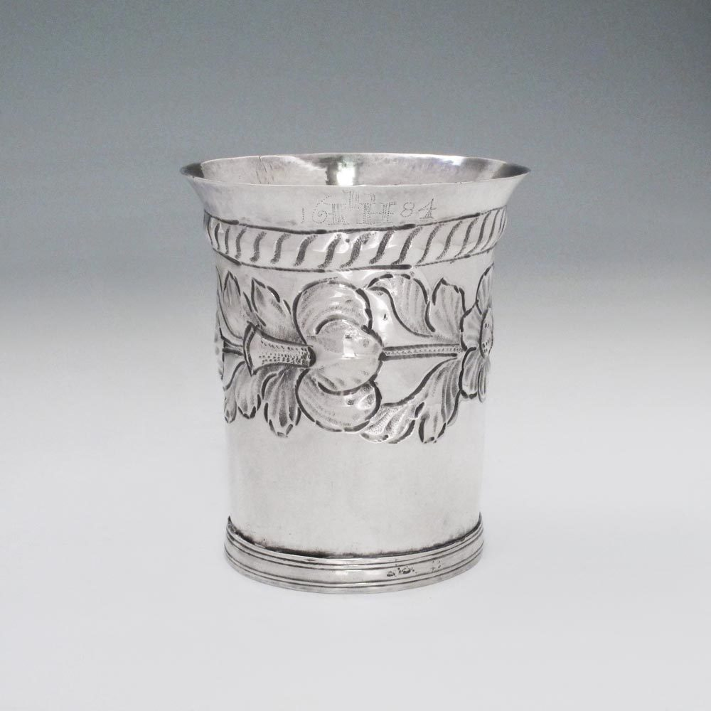 SOLD - A Charles II Antique English Silver Beaker