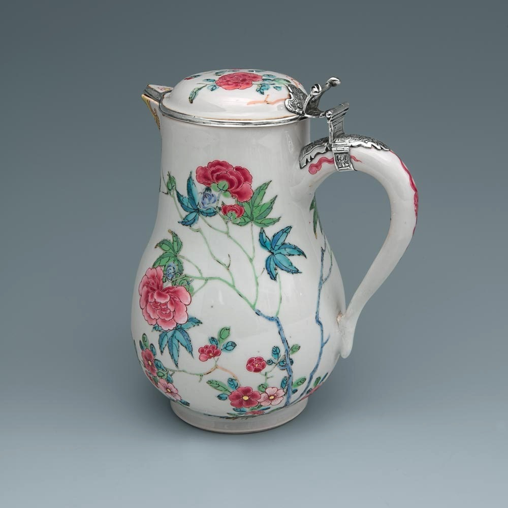 A Rare Silver-Mounted Famille Rose Covered Ewer