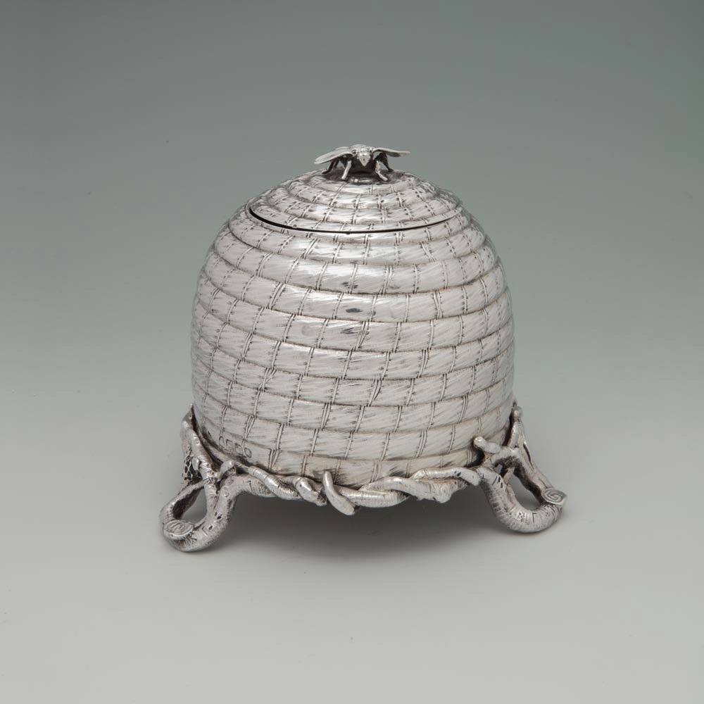 SOLD - A Victorian Antique English Silver Beehive Inkstand