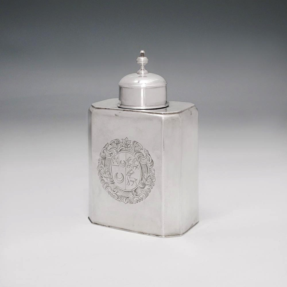 A George II Antique English Silver Tea Caddy