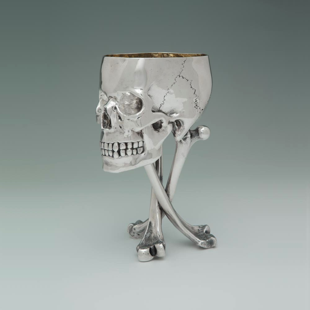 A Victorian Antique English Silver Skull Cup