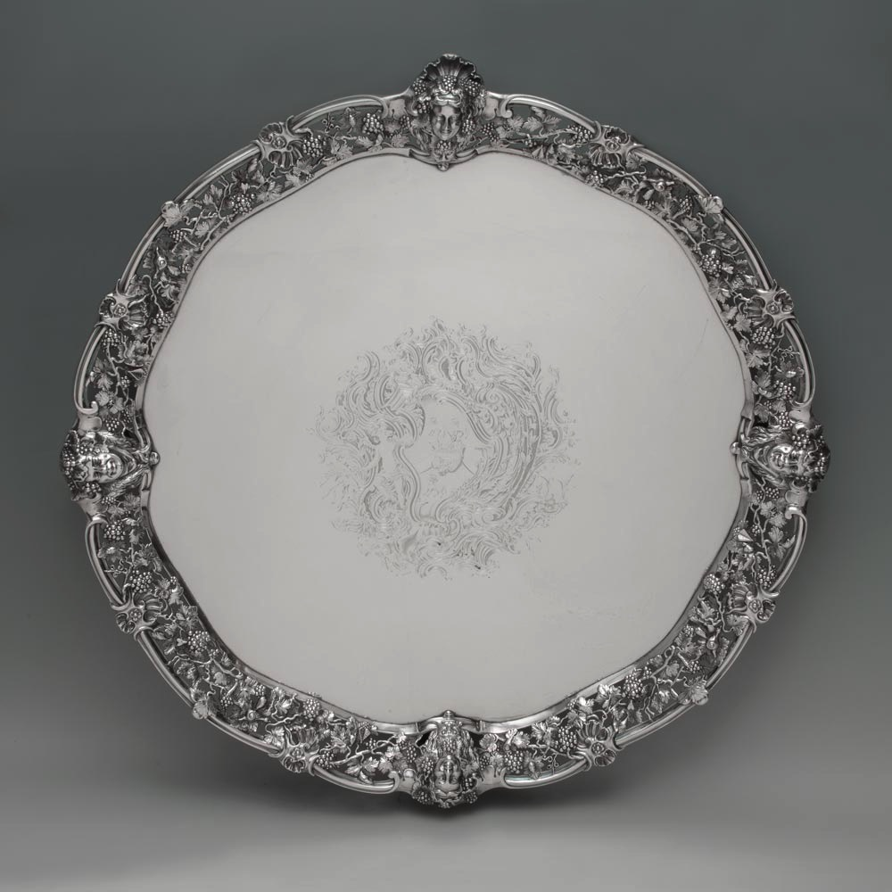SOLD - A Large George II Antique English Silver Salver
