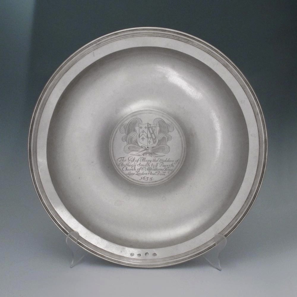 A Charles II Antique English Silver Alms Dish
