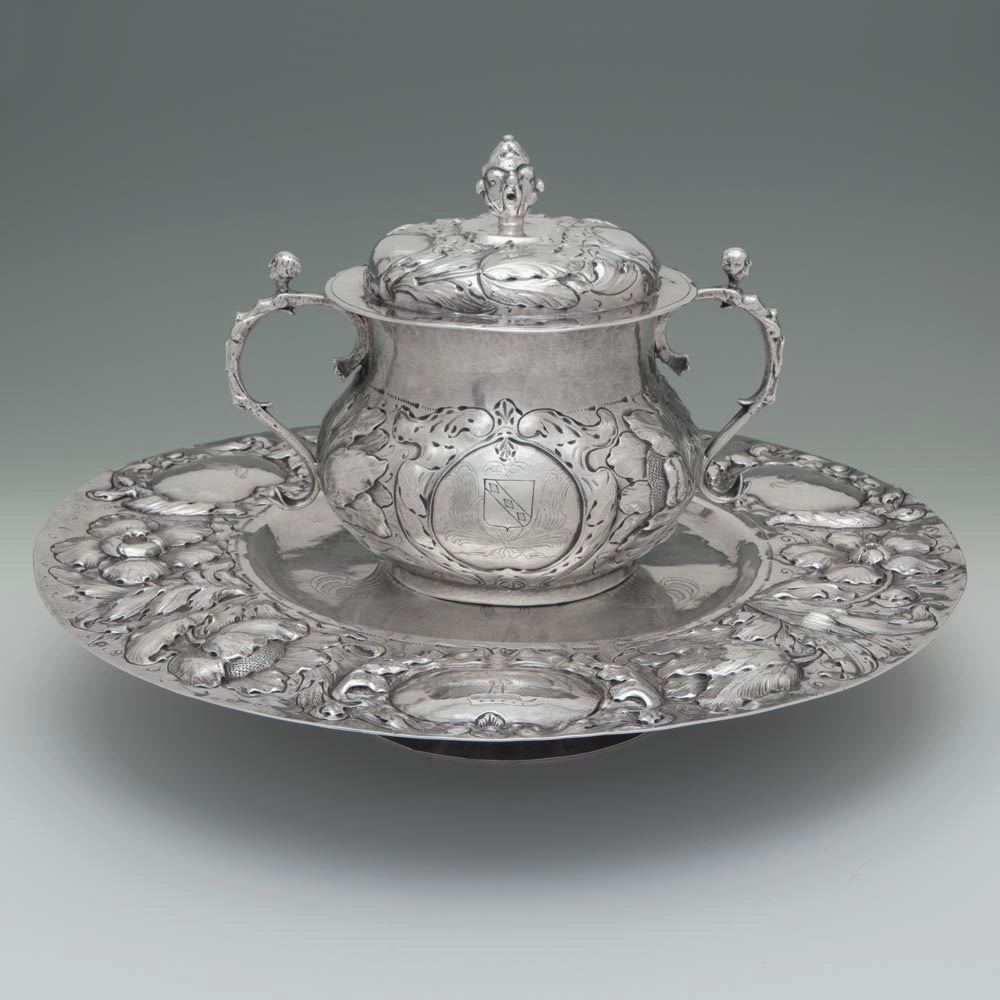 A Charles II Antique English Silver Porringer & Stand
