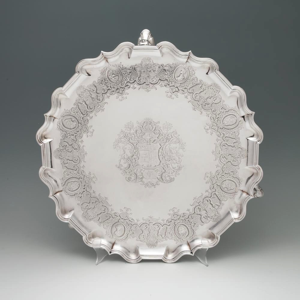 A George II Antique English Silver Salver