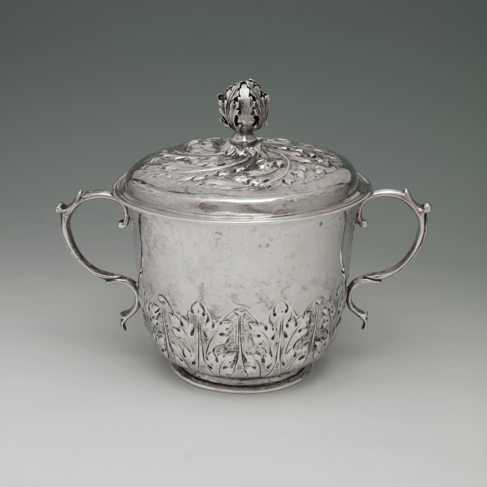 A Charles II Antique English Silver Porringer & Cover