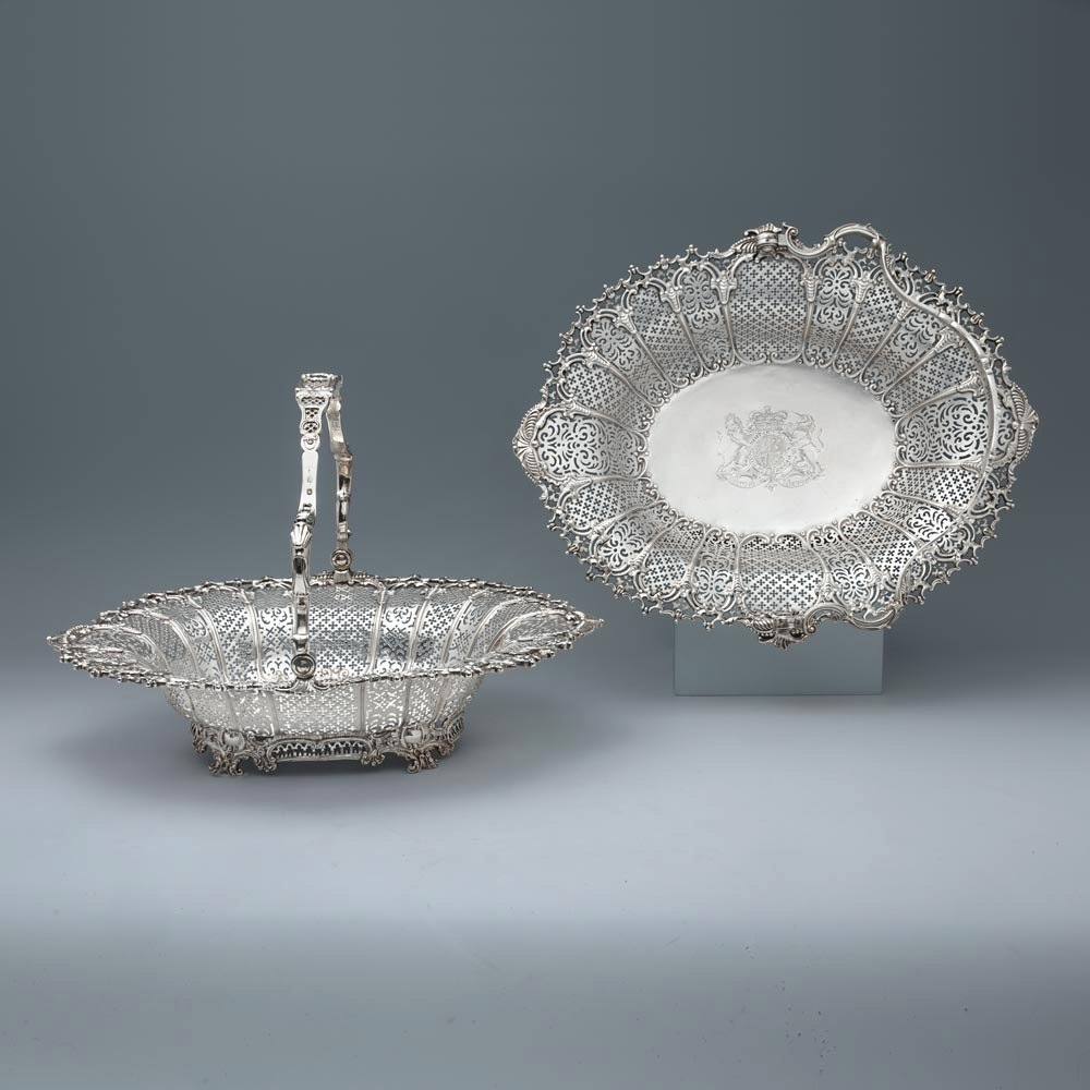 SOLD - A Pair of Royal Ambassadorial George III Antique English Silver Baskets