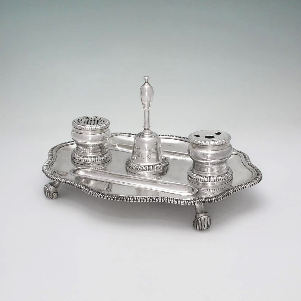 A George II Antique English Silver Inkstand