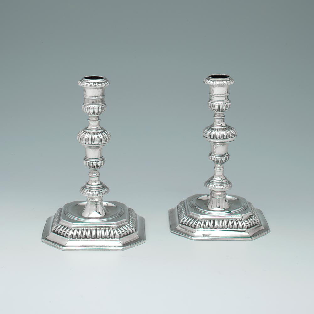 A Pair of William III Antique English Silver Candlesticks
