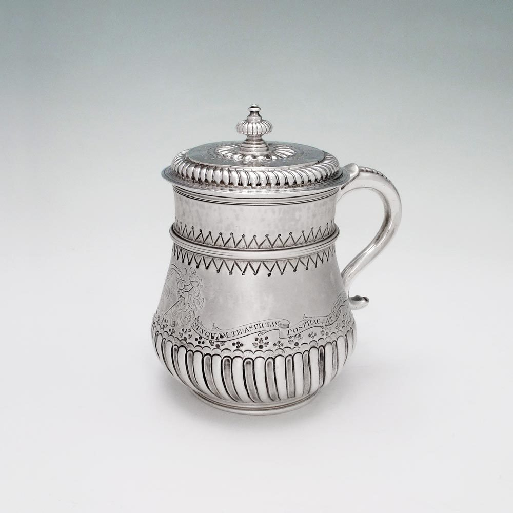 SOLD - The Granville-Berkeley Cup:  A William III Antique English Silver Covered Mug