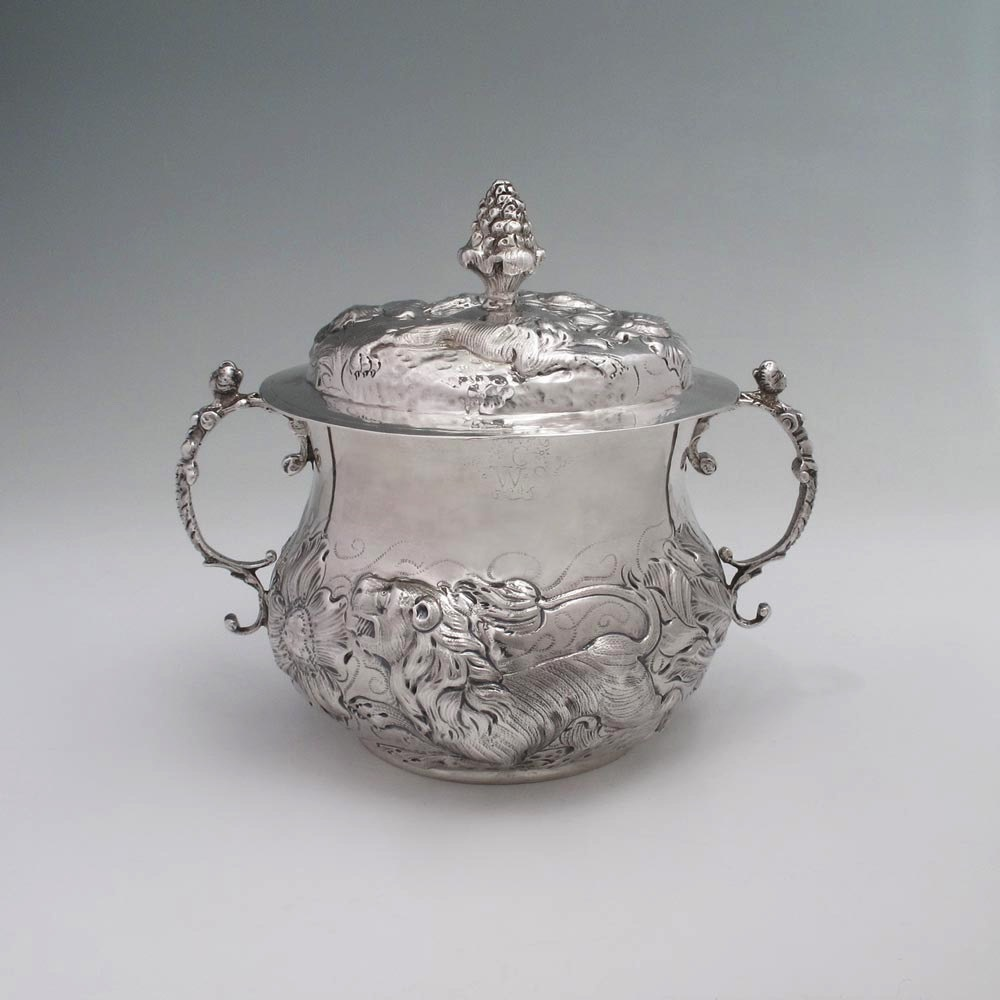 A Charles II Antique English Silver Caudle Cup & Cover