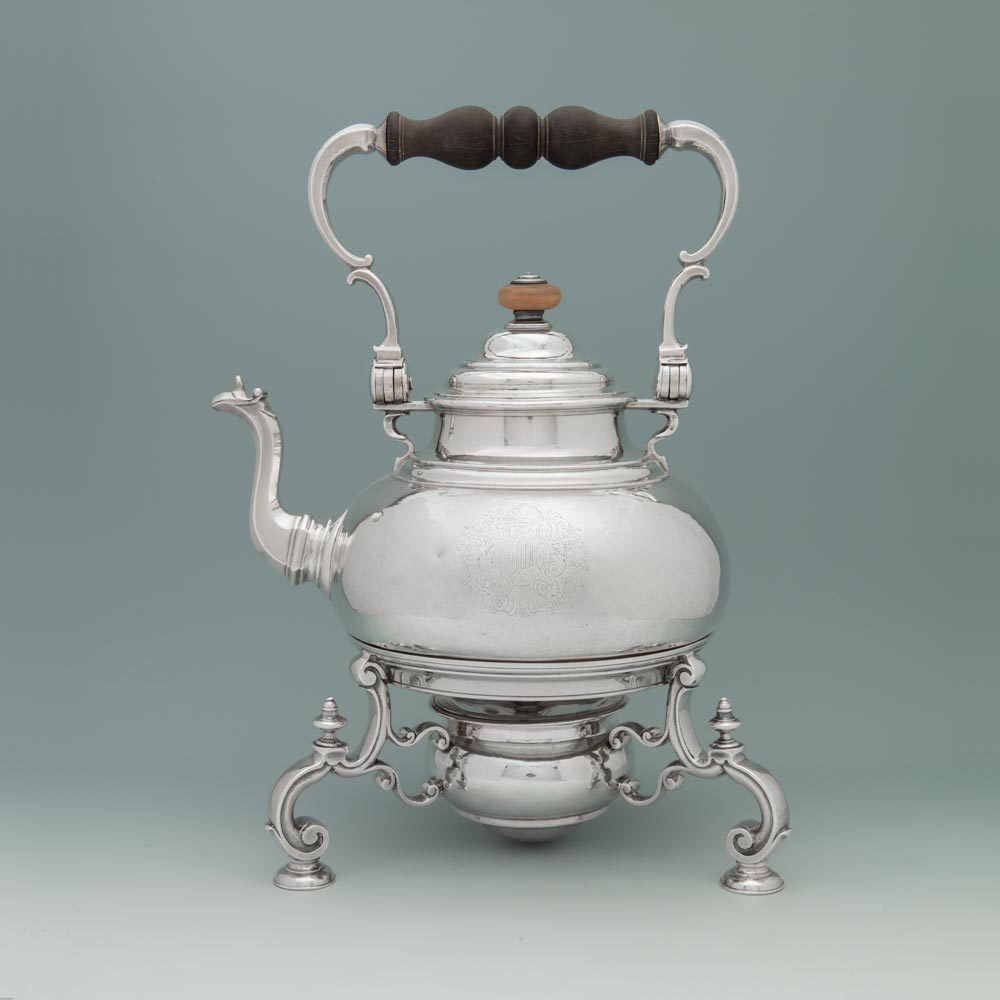 SOLD - A Queen Anne Antique English Silver Kettle & Stand