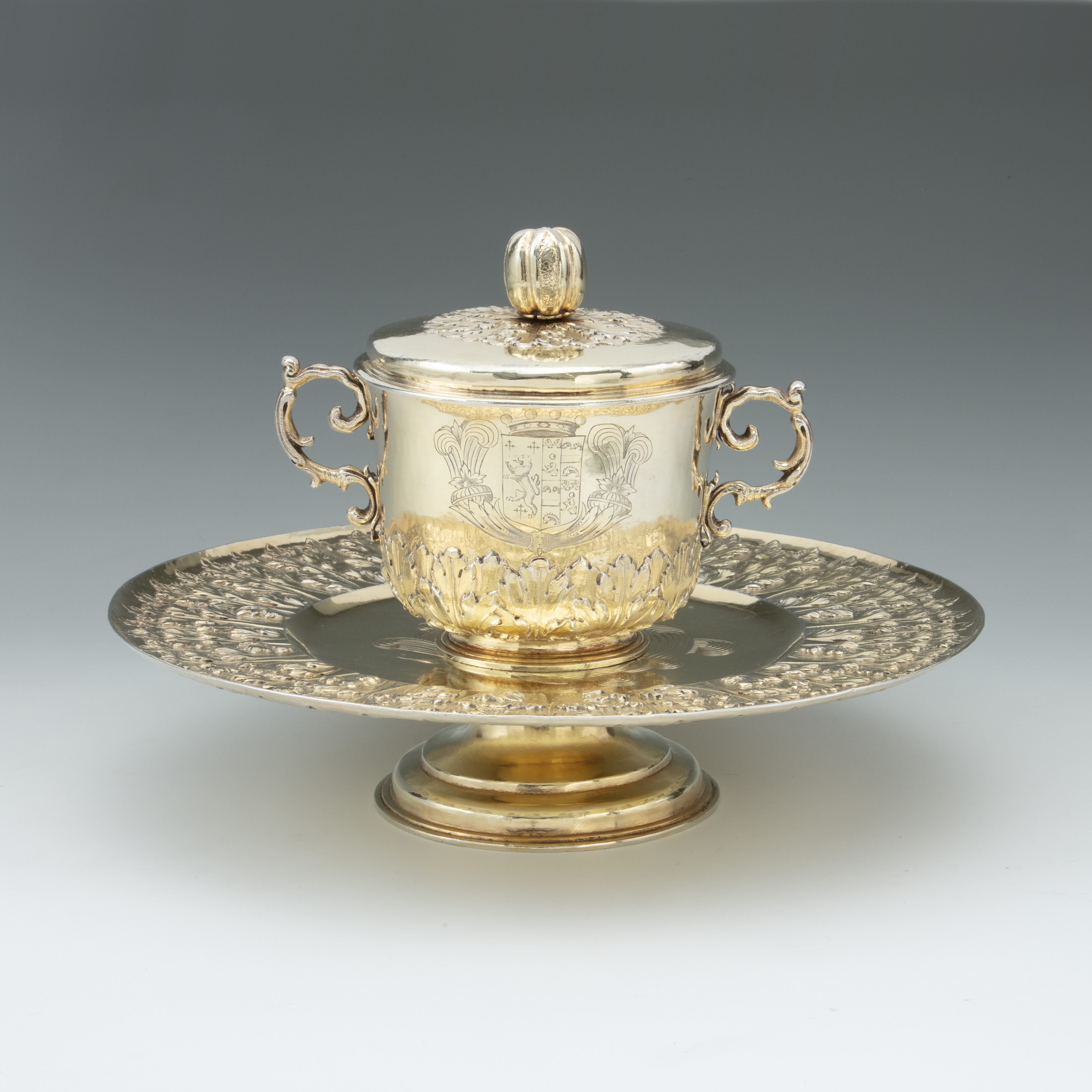 A Charles II Silver-Gilt Porringer on Stand