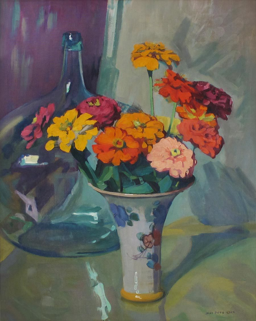 A Vase of Zinnias with Glass Bottle