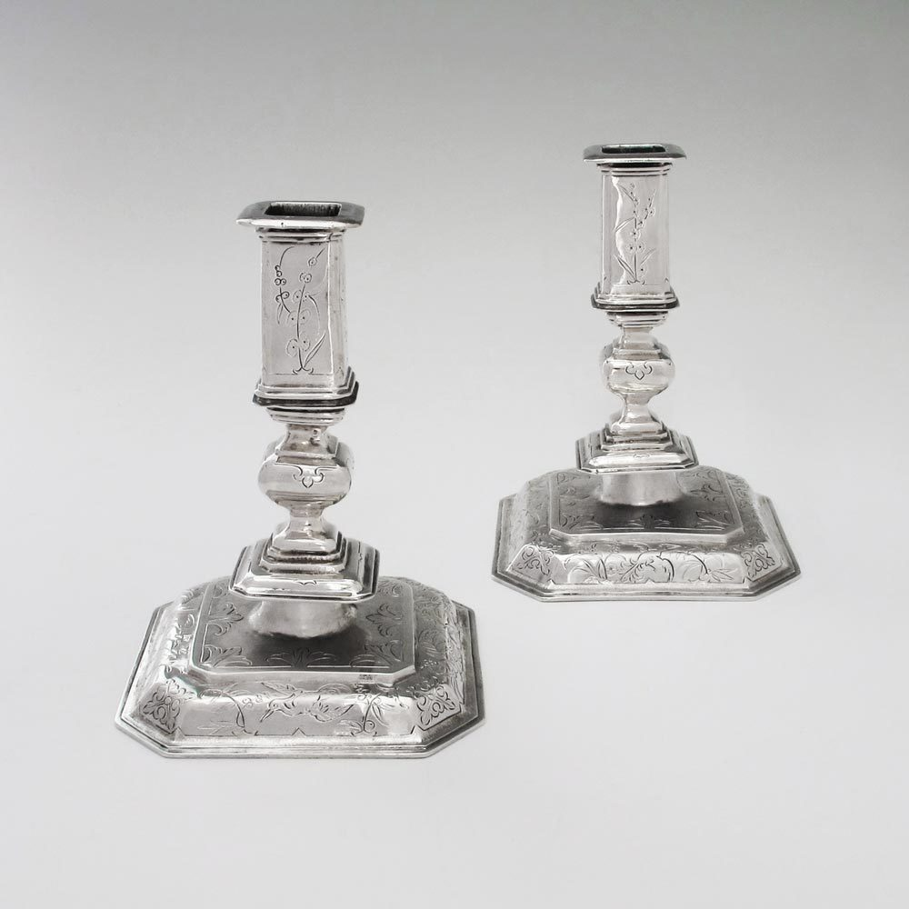 A Pair of Charles II Chinoiserie Antique English Silver Candlesticks