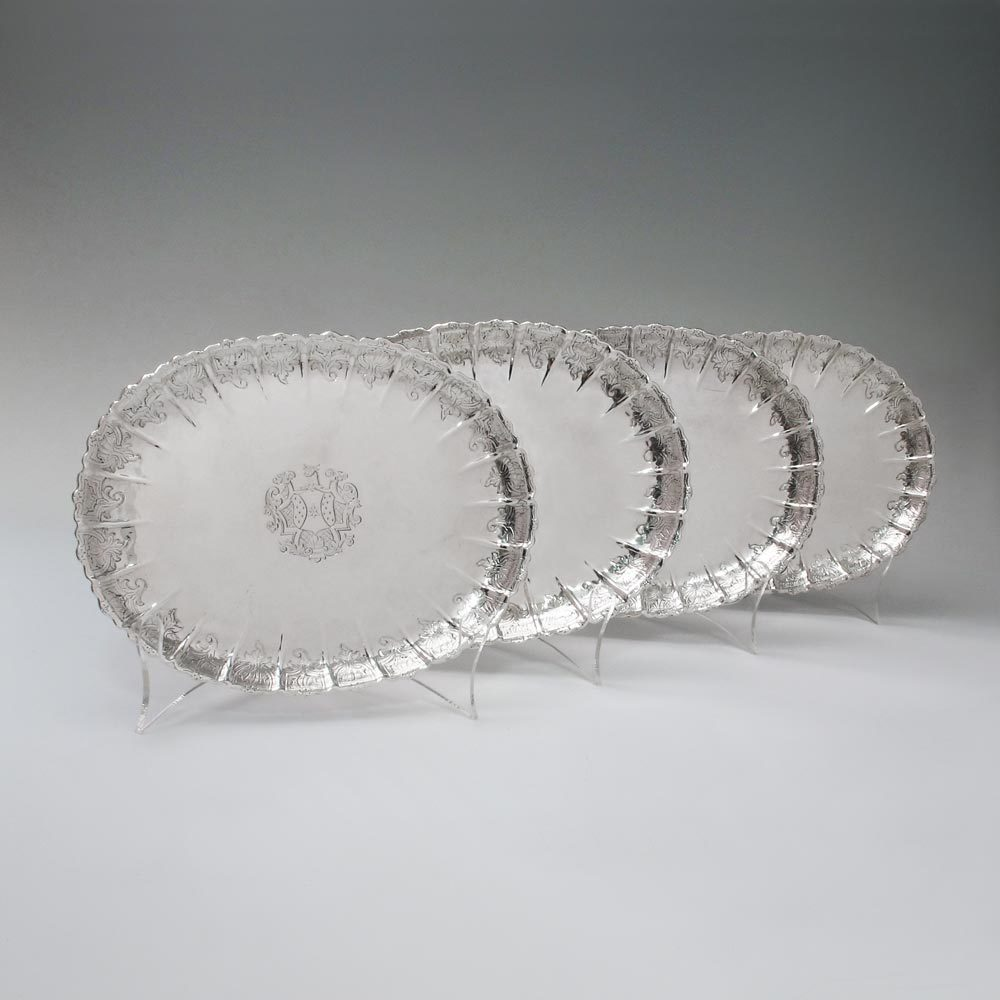 A Set of Four George II Antique English Silver Strawberry Dishes