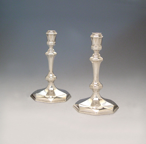 SOLD - A Pair of Octagonal George II Antique English Silver Candlesticks