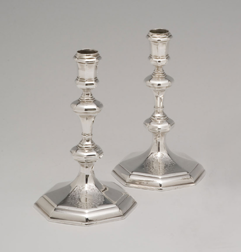 SOLD - A Pair of Queen Anne Octagonal English Silver Candlesticks