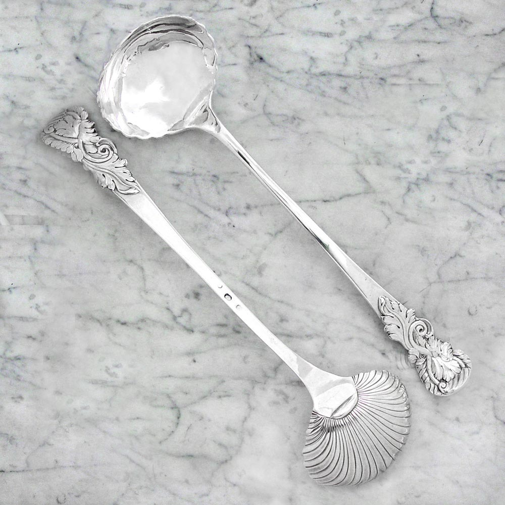 A Pair of George II Antique English Silver Soup Ladles