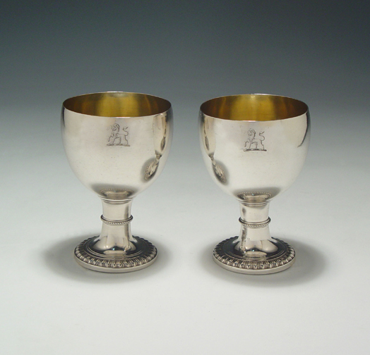 SOLD - A Fine Pair of George III Antique English Silver Goblets