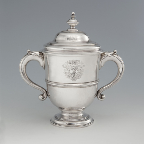 SOLD - A George II Antique English Silver Cup & Cover