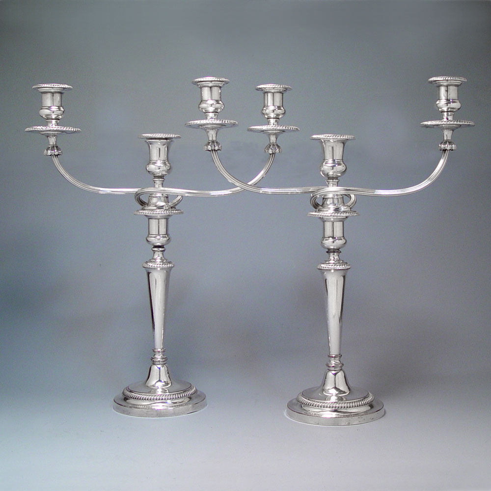 A Pair of Georgian Antique English Old Sheffield Plate Candelabra